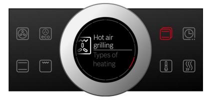 Chọn chế độ làm nóng bằng vòng xoay của Bosch HBG635BB1