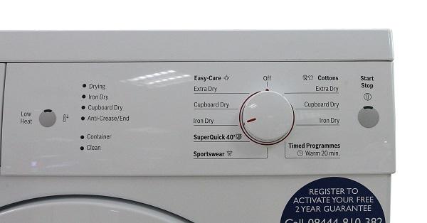 Hình ảnh bảng điều khiển máy sấy cửa trước Bosch WTE84105GB